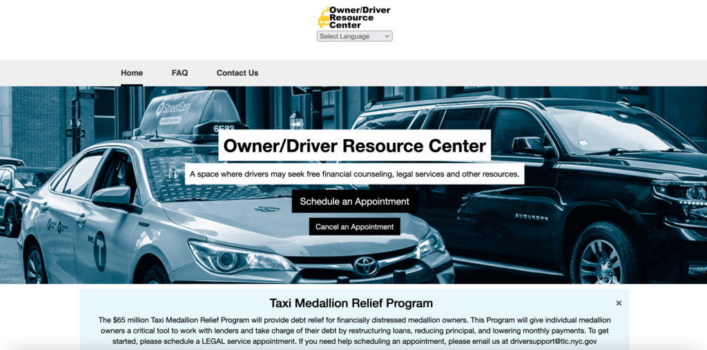 Screenshot of the webpage for the Owner-Driver Resource Center